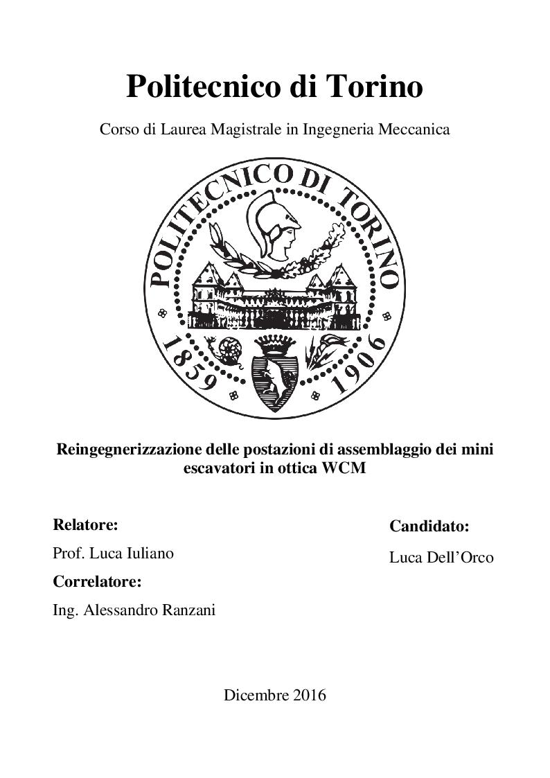 Anteprima della tesi: Reingegnerizzazione delle postazioni di assemblaggio dei mini escavatori in ottica WCM, Pagina 1
