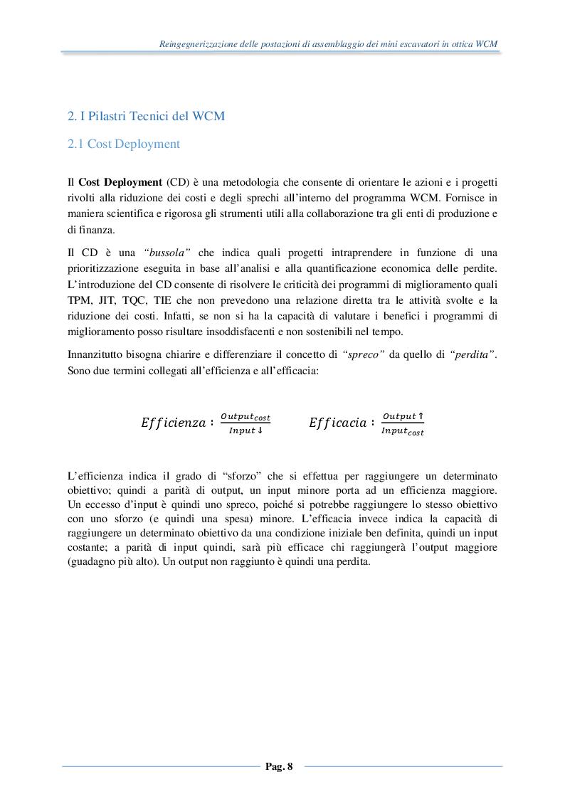 Anteprima della tesi: Reingegnerizzazione delle postazioni di assemblaggio dei mini escavatori in ottica WCM, Pagina 6