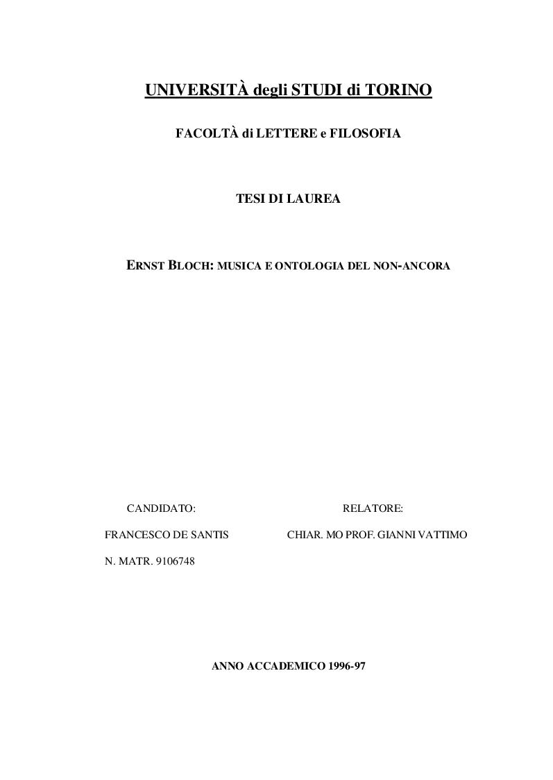 Anteprima della tesi: Ernst Bloch: Musica e Ontologia del non-ancora, Pagina 1