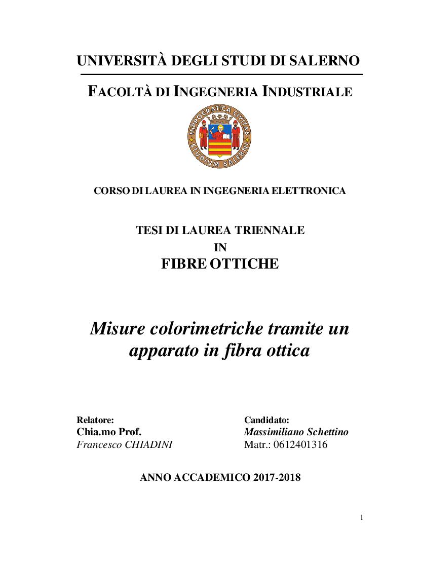 Anteprima della tesi: Misure colorimetriche tramite un apparato in fibra ottica, Pagina 1