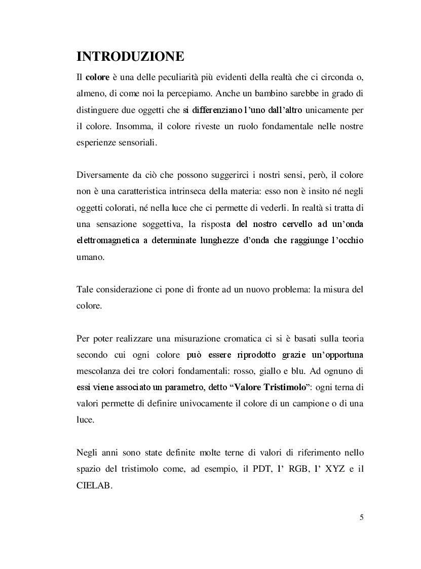Anteprima della tesi: Misure colorimetriche tramite un apparato in fibra ottica, Pagina 2