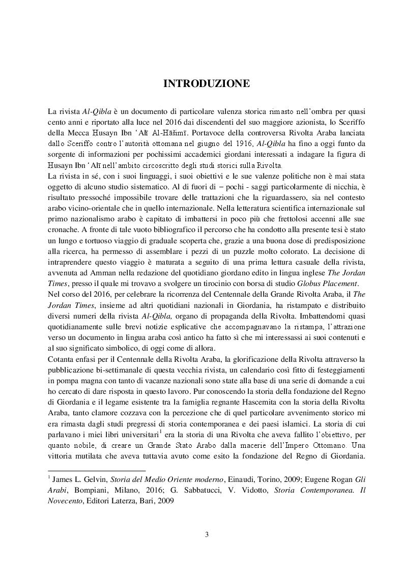 Anteprima della tesi: La Rivista Al-Qibla. La propaganda Hascemita dal Nazionalismo Arabo al patriottismo giordano, Pagina 2