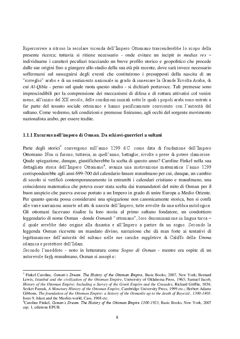 Anteprima della tesi: La Rivista Al-Qibla. La propaganda Hascemita dal Nazionalismo Arabo al patriottismo giordano, Pagina 6