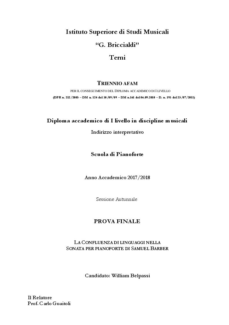 Anteprima della tesi: La confluenza di linguaggi nella Sonata per pianoforte di Samuel Barber, Pagina 1