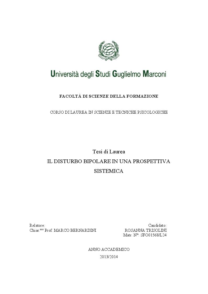 Anteprima della tesi: Il disturbo bipolare in una prospettiva sistemica, Pagina 1