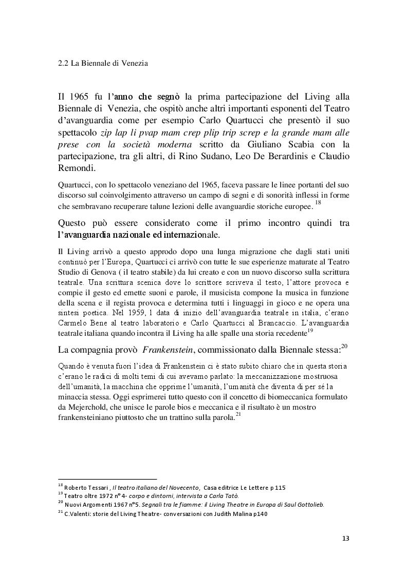 Estratto dalla tesi: Cronache Italiane del Living Theatre