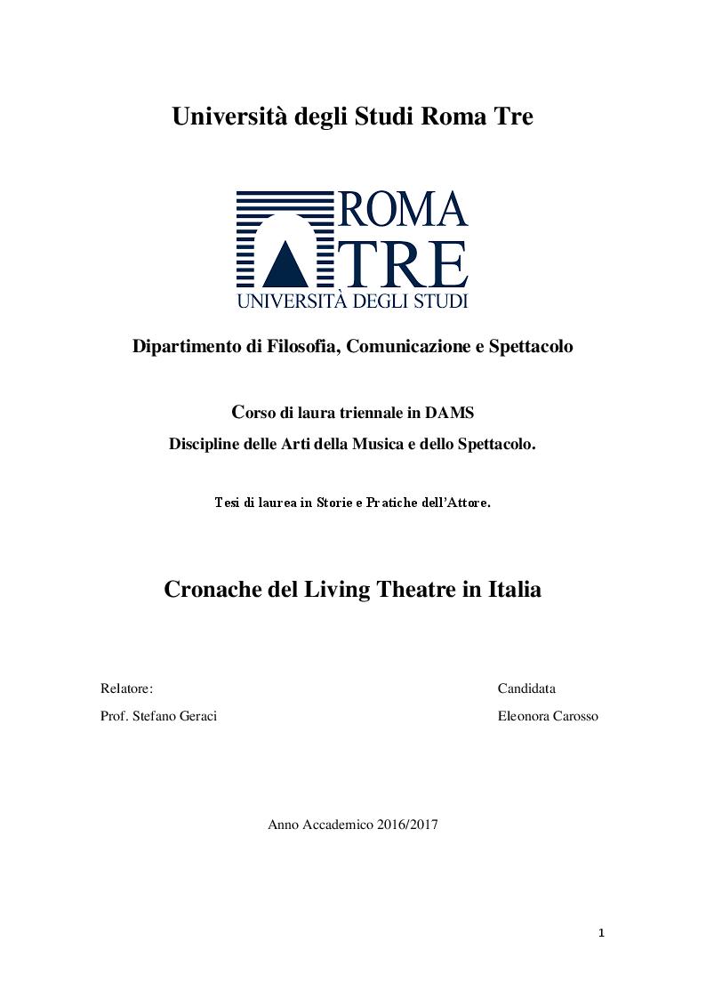 Anteprima della tesi: Cronache Italiane del Living Theatre, Pagina 1