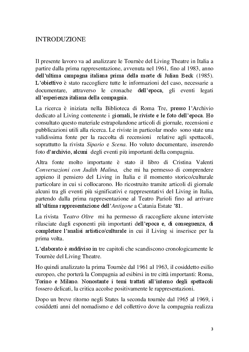 Anteprima della tesi: Cronache Italiane del Living Theatre, Pagina 2