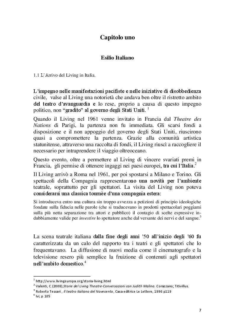Anteprima della tesi: Cronache Italiane del Living Theatre, Pagina 4