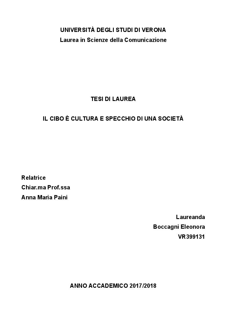 Anteprima della tesi: Il cibo è cultura e specchio di una società, Pagina 1