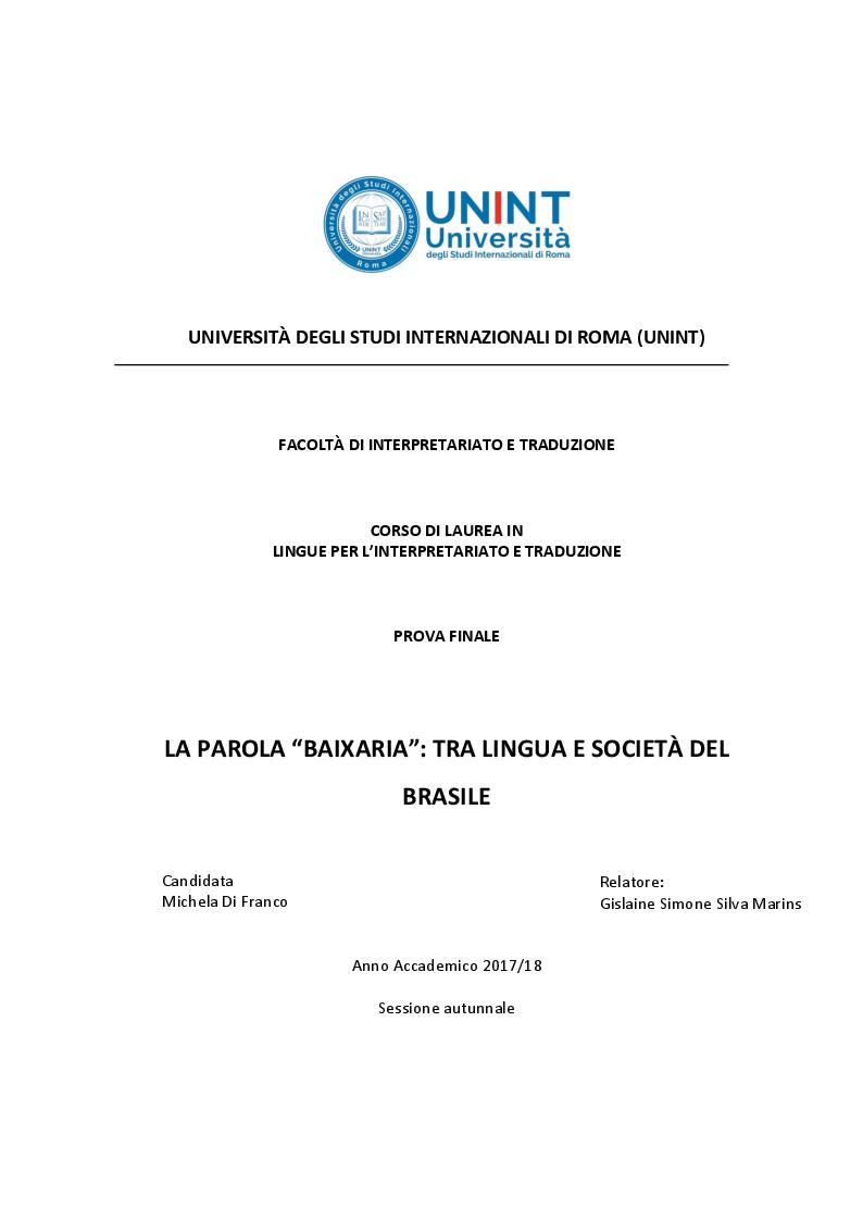 Anteprima della tesi: La parola ''Baixaria'': tra lingua e società del Brasile, Pagina 1