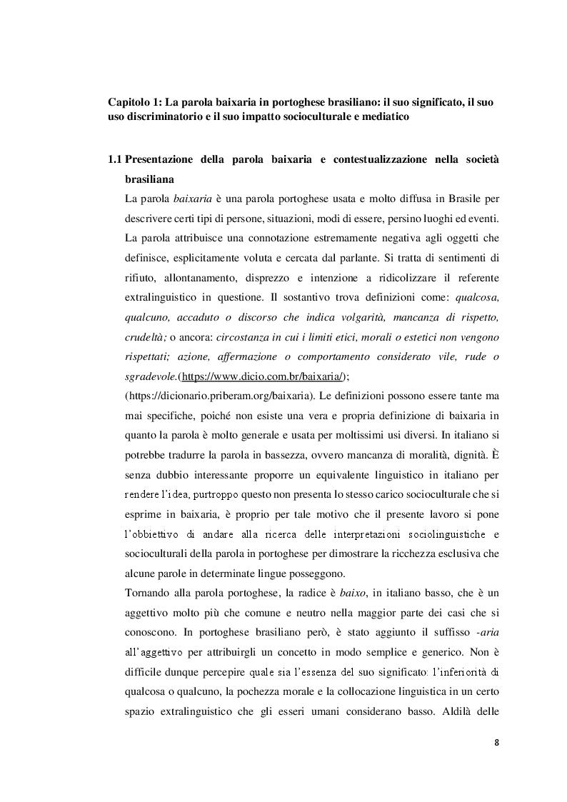 Anteprima della tesi: La parola ''Baixaria'': tra lingua e società del Brasile, Pagina 5
