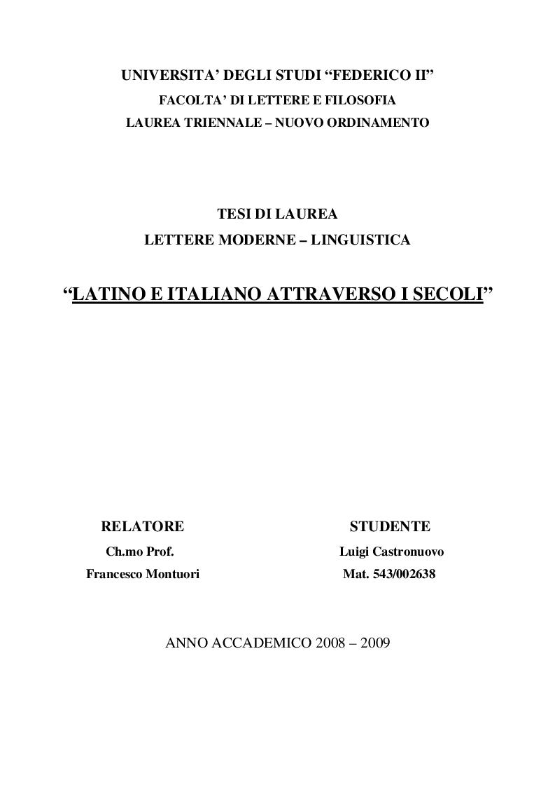 Anteprima della tesi: Latino e italiano attraverso i secoli, Pagina 1