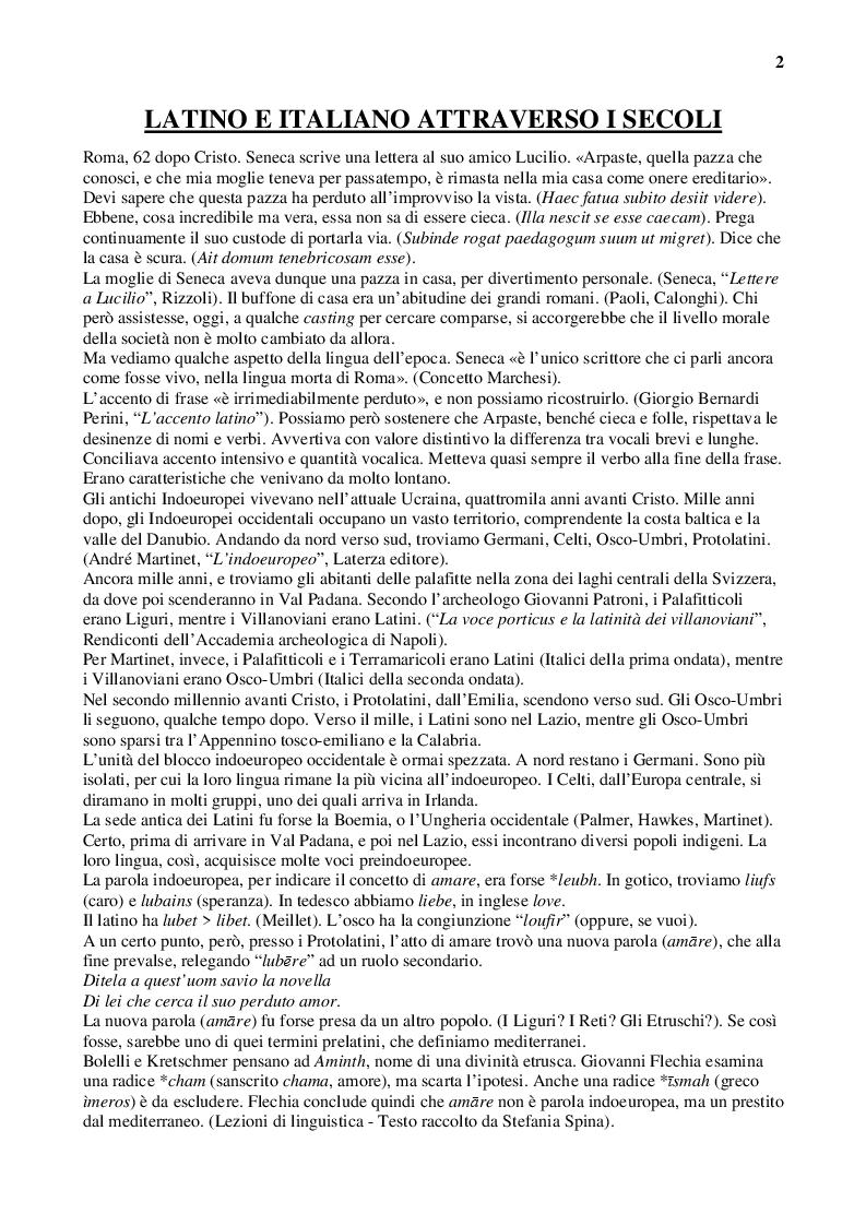 Anteprima della tesi: Latino e italiano attraverso i secoli, Pagina 2
