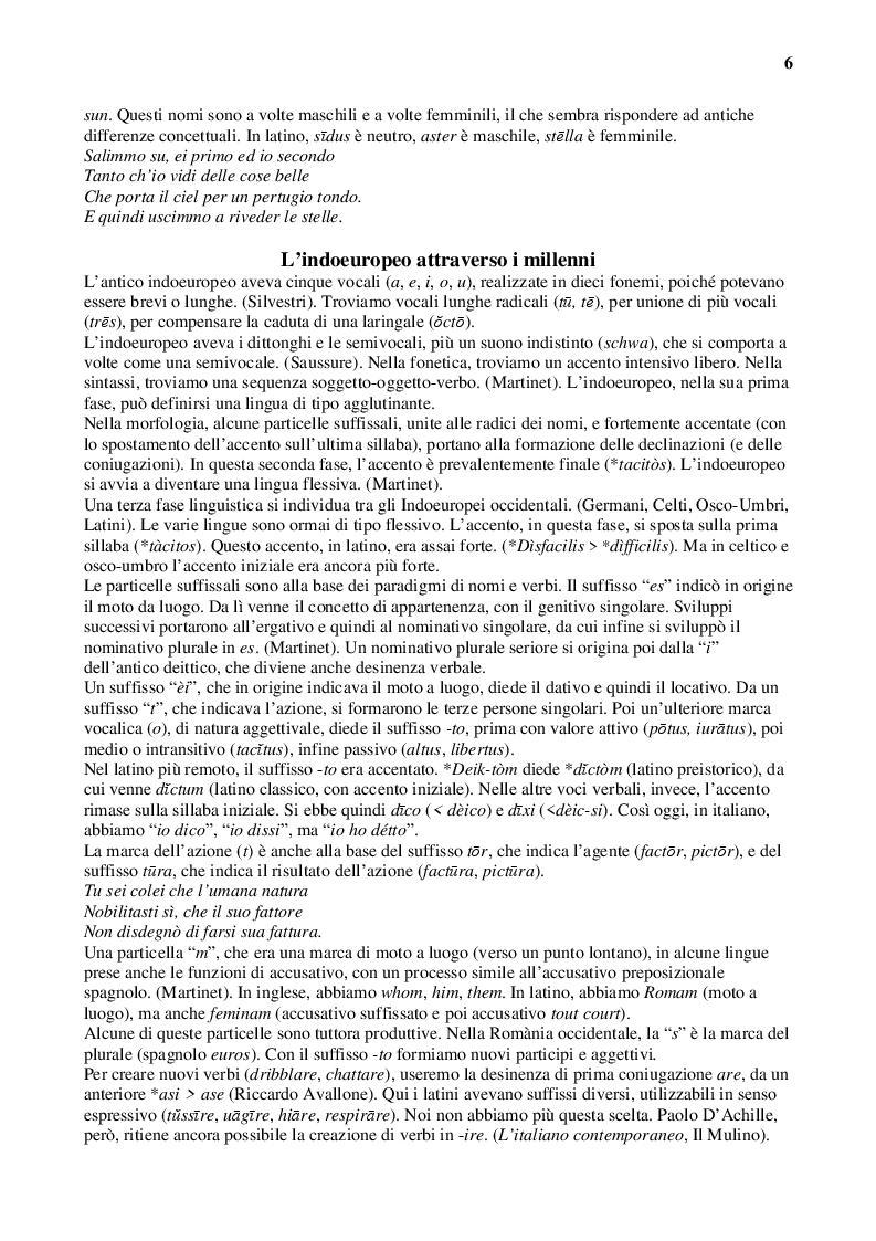 Anteprima della tesi: Latino e italiano attraverso i secoli, Pagina 6