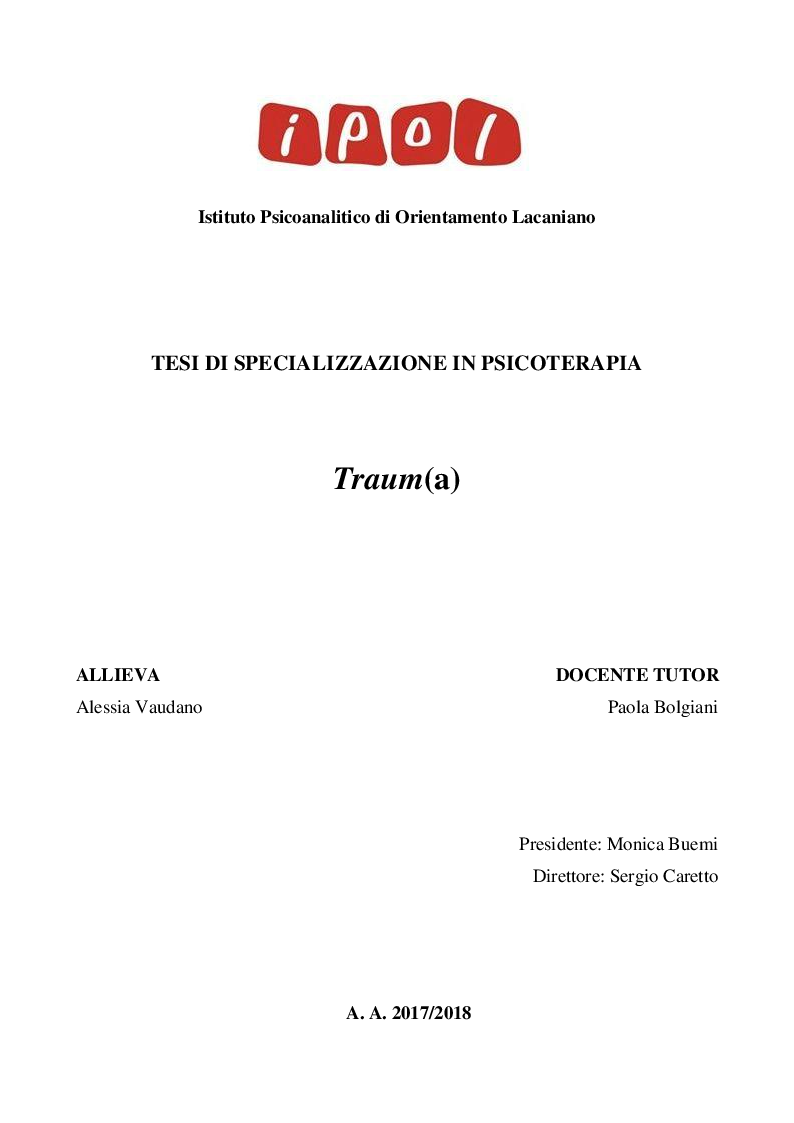 Anteprima della tesi: Traum(a), Pagina 1