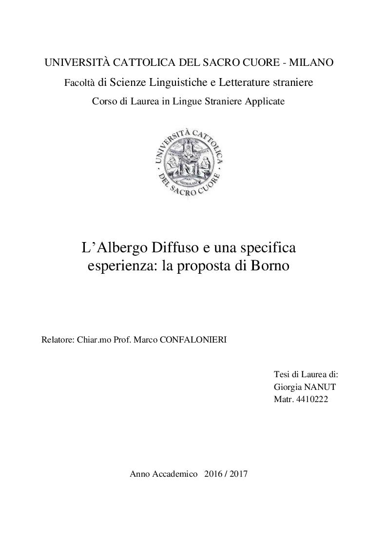 Anteprima della tesi: L'albergo diffuso e una specifica esperienza: la proposta di Borno, Pagina 1