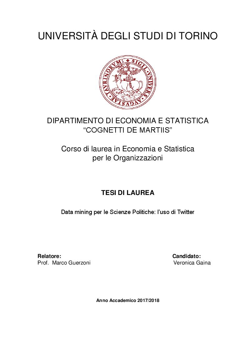 Anteprima della tesi: Data Mining per le Scienze Politiche: l'uso di Twitter, Pagina 1