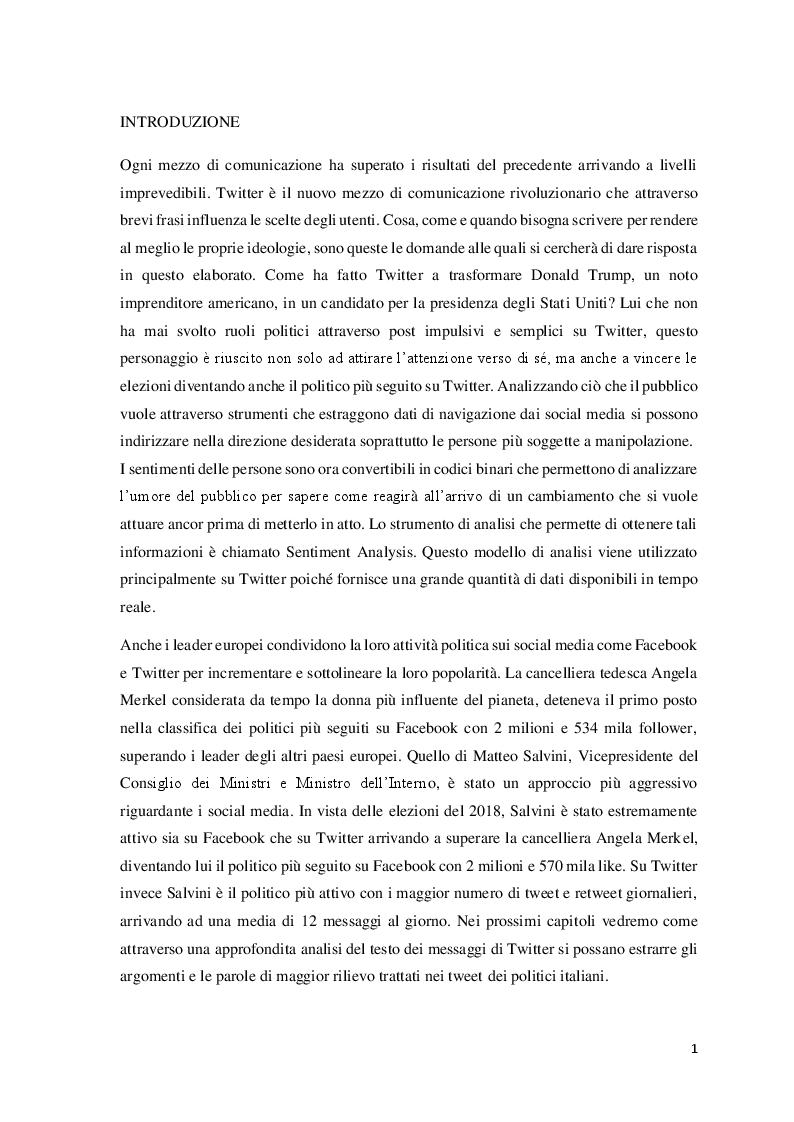 Anteprima della tesi: Data Mining per le Scienze Politiche: l'uso di Twitter, Pagina 2