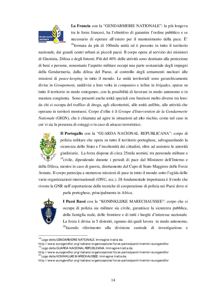 Estratto dalla tesi: La cooperazione di polizia in Europa: il ruolo dell'EUROGENDFOR