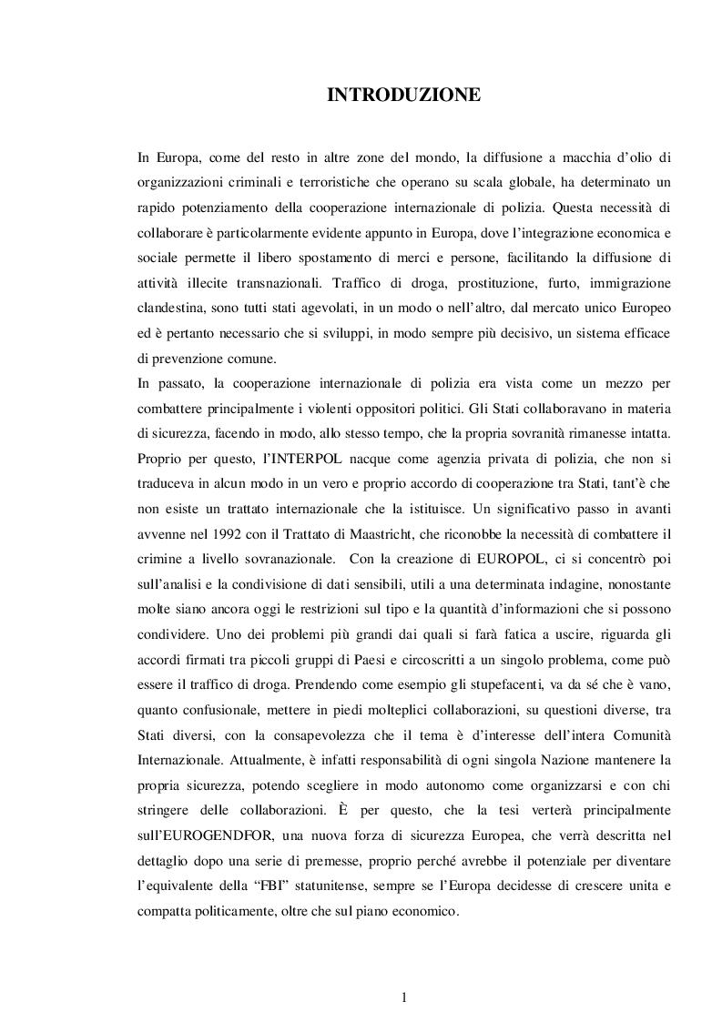Anteprima della tesi: La cooperazione di polizia in Europa: il ruolo dell'EUROGENDFOR, Pagina 2
