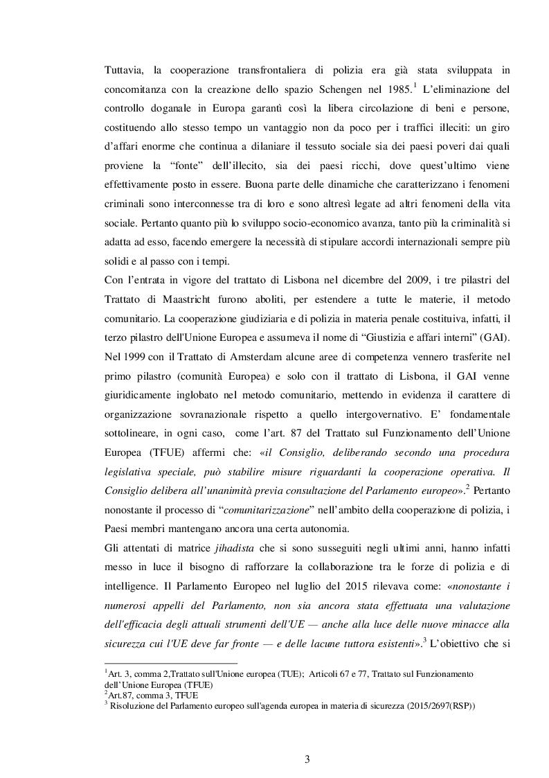Anteprima della tesi: La cooperazione di polizia in Europa: il ruolo dell'EUROGENDFOR, Pagina 4