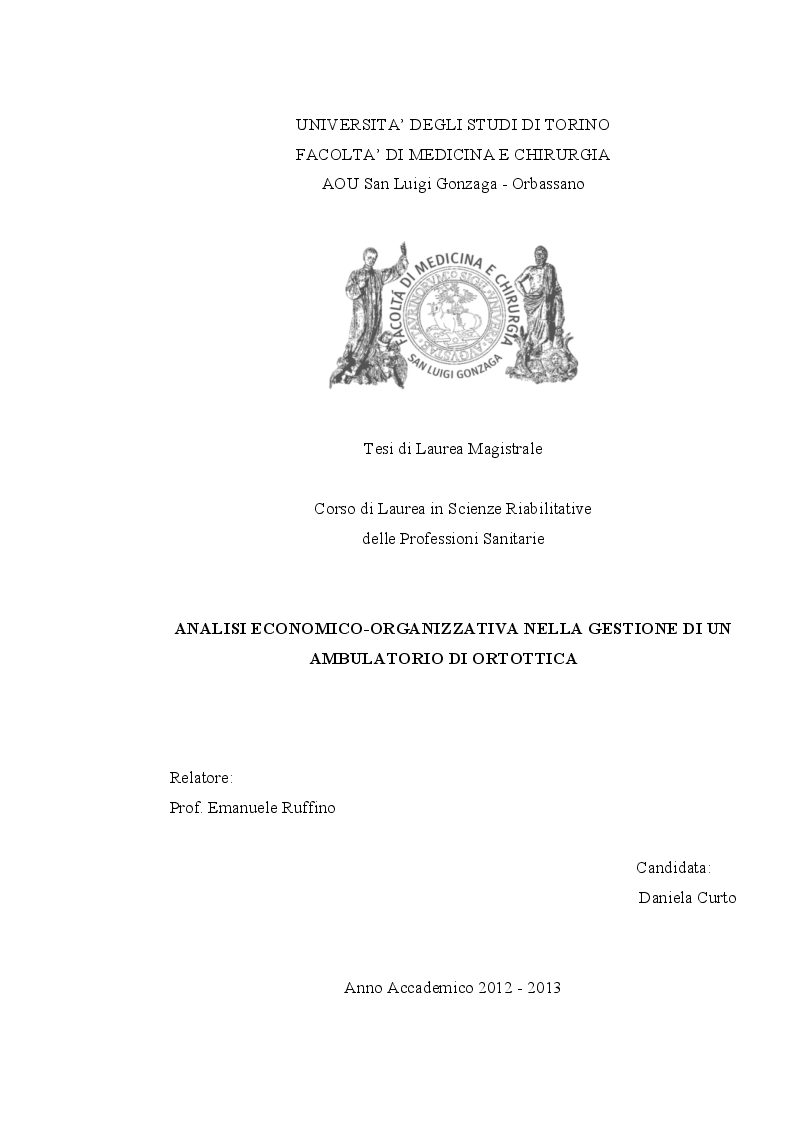 Anteprima della tesi: Analisi economico-organizzativa nella gestione di un ambulatorio di ortottica, Pagina 1