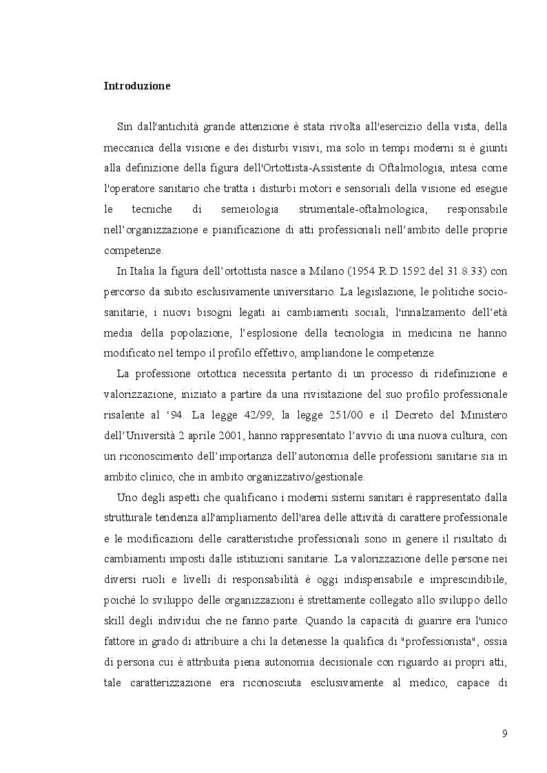 Anteprima della tesi: Analisi economico-organizzativa nella gestione di un ambulatorio di ortottica, Pagina 4