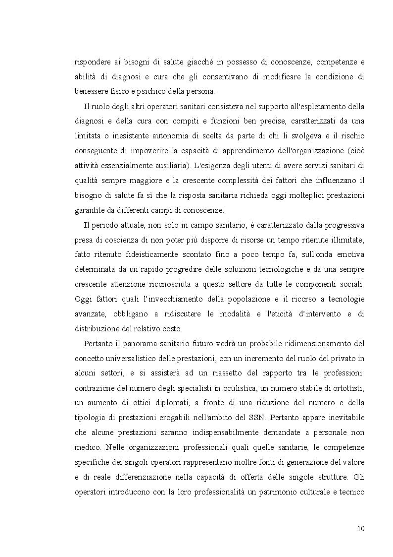 Anteprima della tesi: Analisi economico-organizzativa nella gestione di un ambulatorio di ortottica, Pagina 5