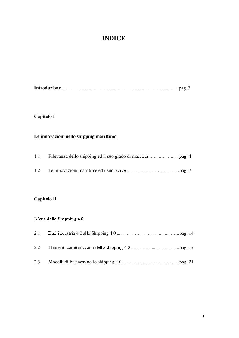 Indice della tesi: Lo shipping nell'era dell'industria 4.0: innovazioni e tendenze, Pagina 1