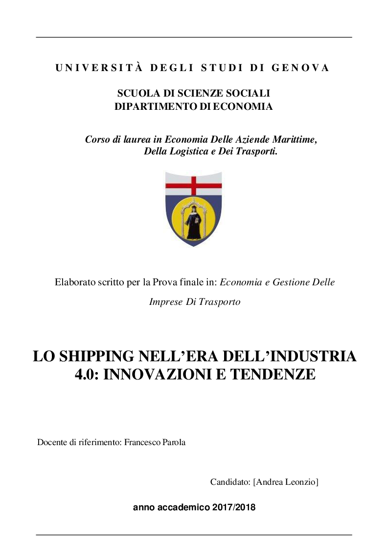 Anteprima della tesi: Lo shipping nell'era dell'industria 4.0: innovazioni e tendenze, Pagina 1