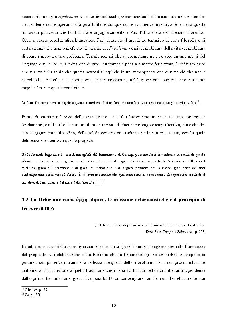 Estratto dalla tesi: Enzo Paci e la Fenomenologia relazionistica: la risposta positiva alla krisis
