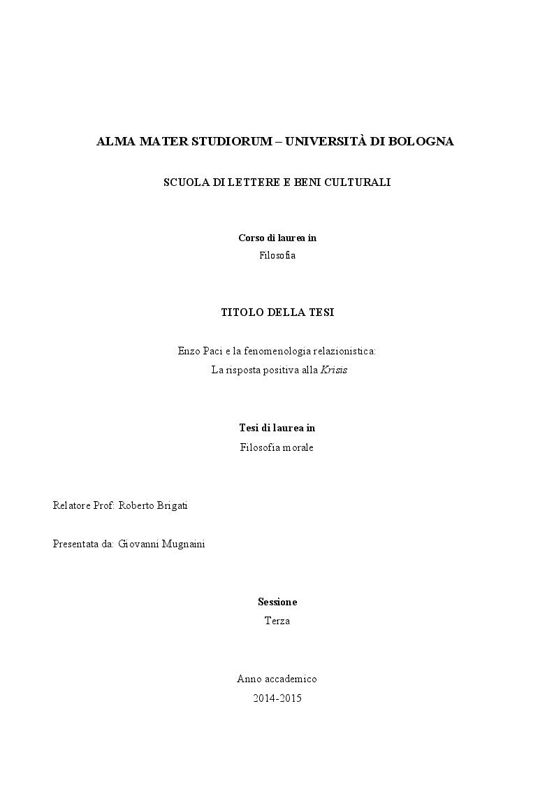 Anteprima della tesi: Enzo Paci e la Fenomenologia relazionistica: la risposta positiva alla krisis, Pagina 1