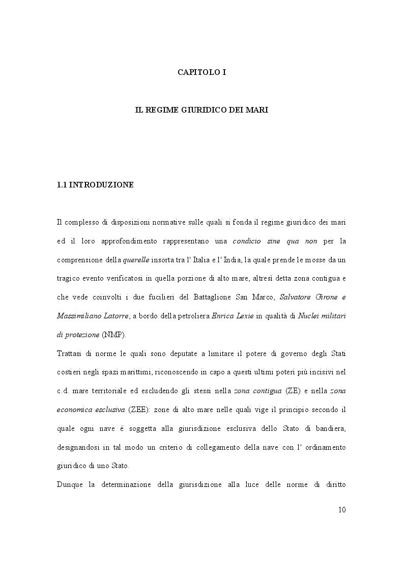 Anteprima della tesi: Il caso Marò ed il Diritto Internazionale del mare, Pagina 5