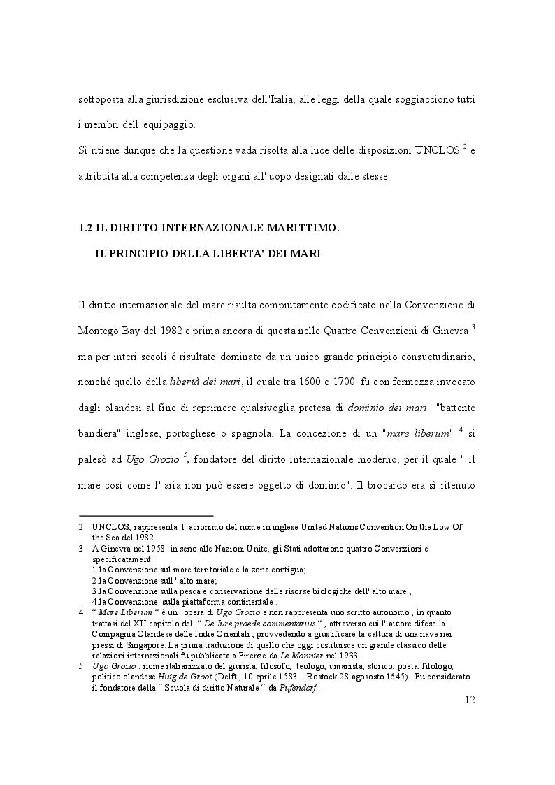 Anteprima della tesi: Il caso Marò ed il Diritto Internazionale del mare, Pagina 7