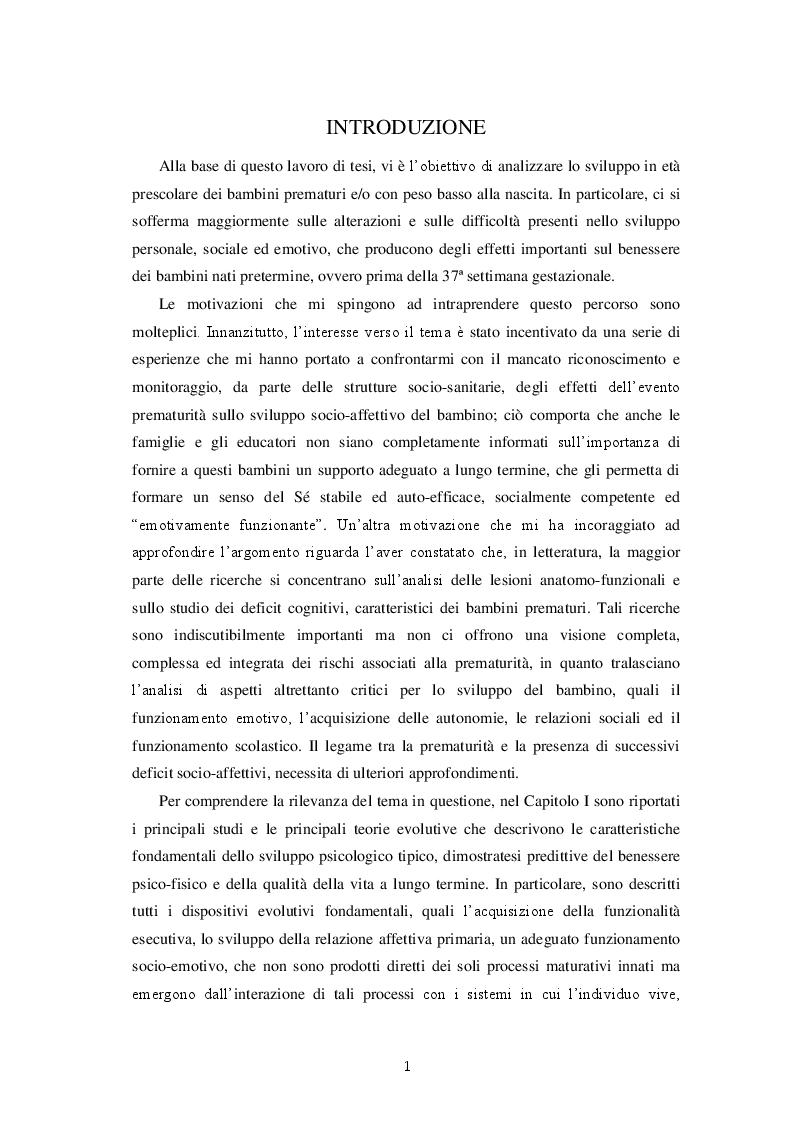 Anteprima della tesi: Una valutazione globale dello sviluppo personale, sociale ed emotivo dei bambini prematuri attraverso le Scale Griffiths III, Pagina 2
