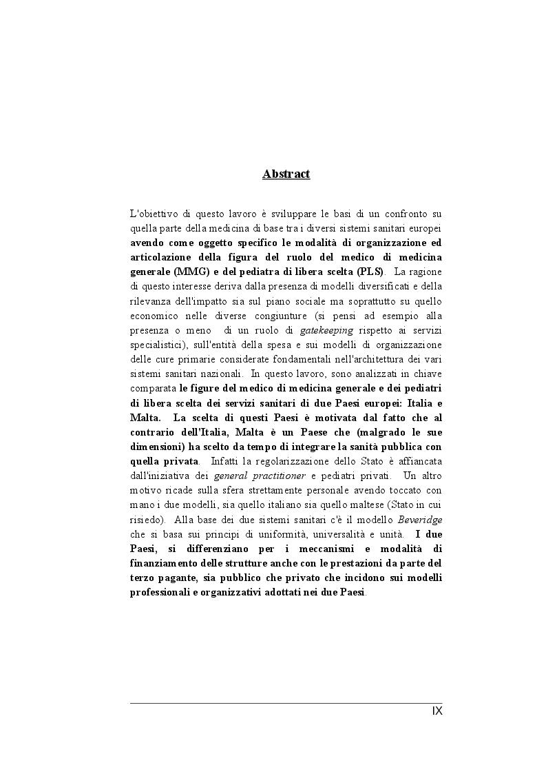 Anteprima della tesi: Il ruolo dei medici di medicina generale e pediatri di libera scelta nel sistema sanitario italiano e nel servizio sanitario maltese. Modelli organizzativi e profili evolutivi., Pagina 2