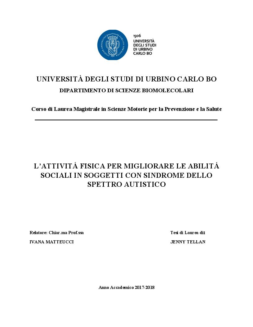 Anteprima della tesi: Il ruolo dell'attività fisica nel miglioramento delle abilità sociali nei soggetti autistici, Pagina 1