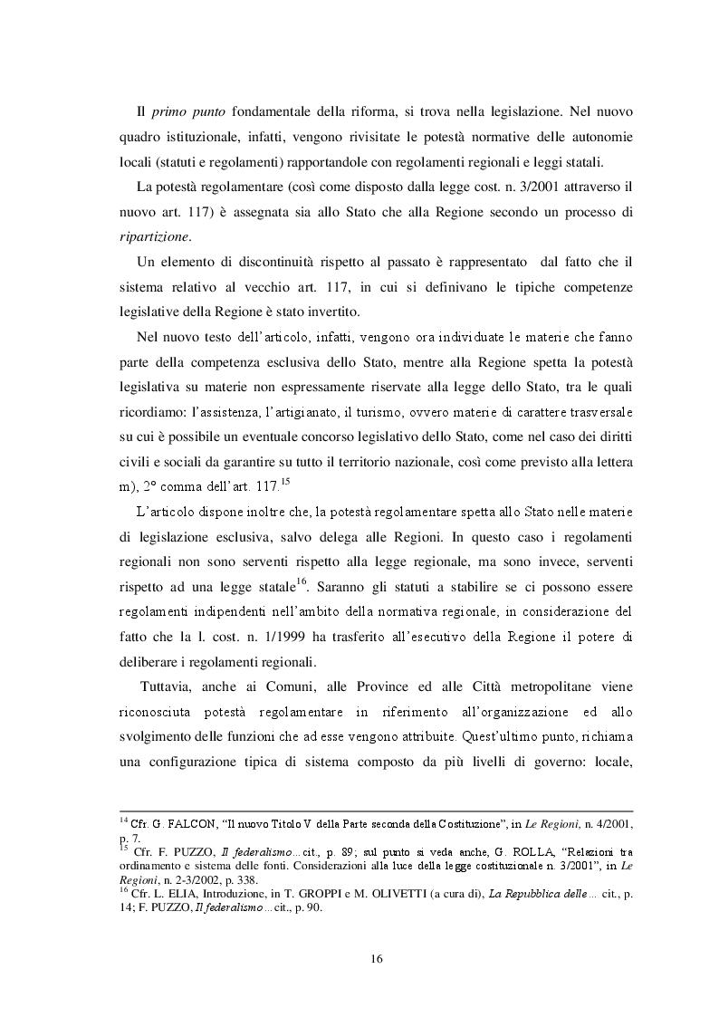 Estratto dalla tesi: L'autonomia finanziaria degli Enti Locali alla luce della riforma del titolo V della Costituzione