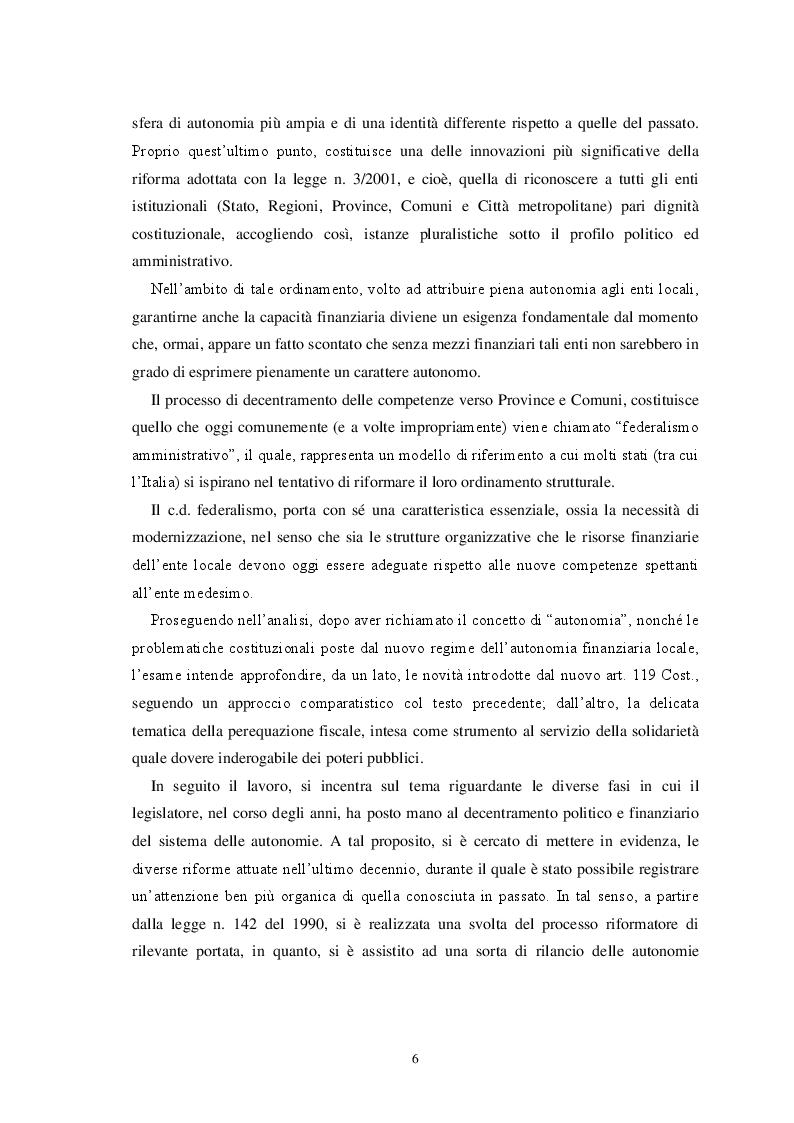 Anteprima della tesi: L'autonomia finanziaria degli Enti Locali alla luce della riforma del titolo V della Costituzione, Pagina 3