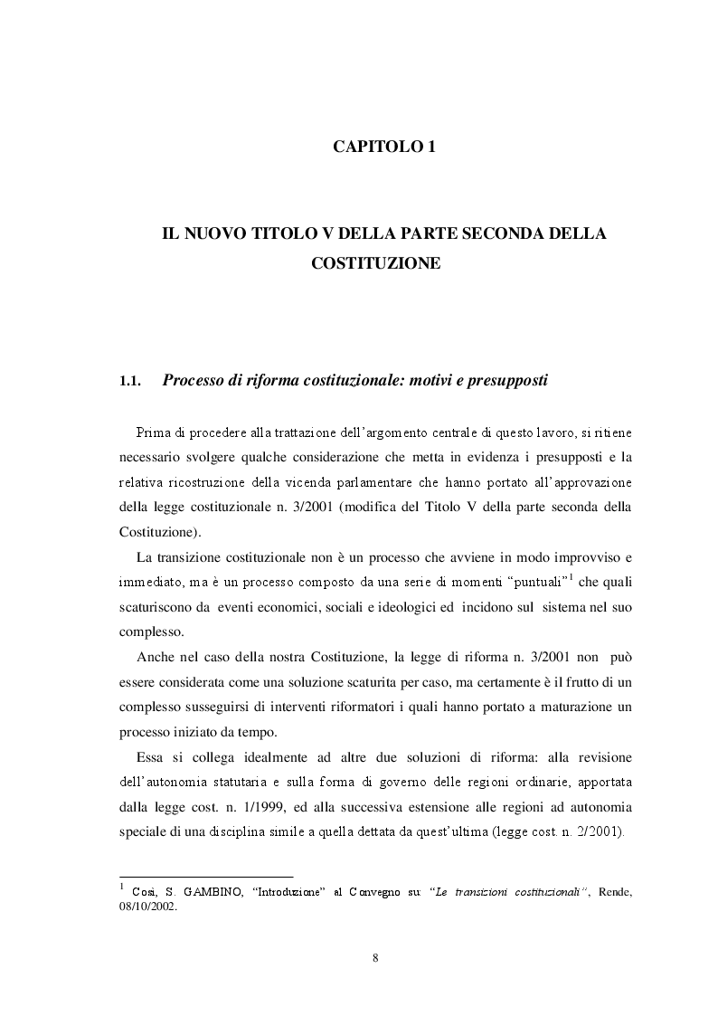 Anteprima della tesi: L'autonomia finanziaria degli Enti Locali alla luce della riforma del titolo V della Costituzione, Pagina 5