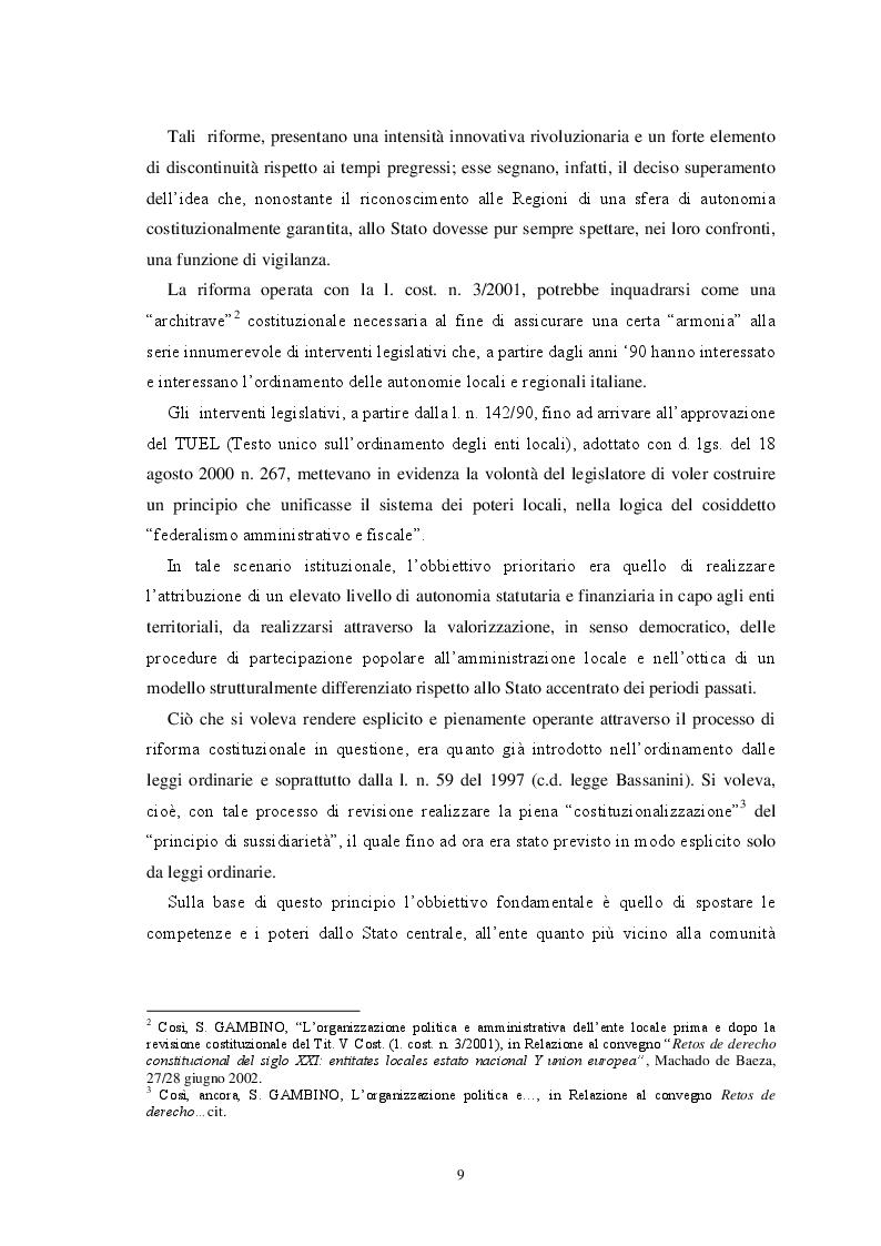 Anteprima della tesi: L'autonomia finanziaria degli Enti Locali alla luce della riforma del titolo V della Costituzione, Pagina 6