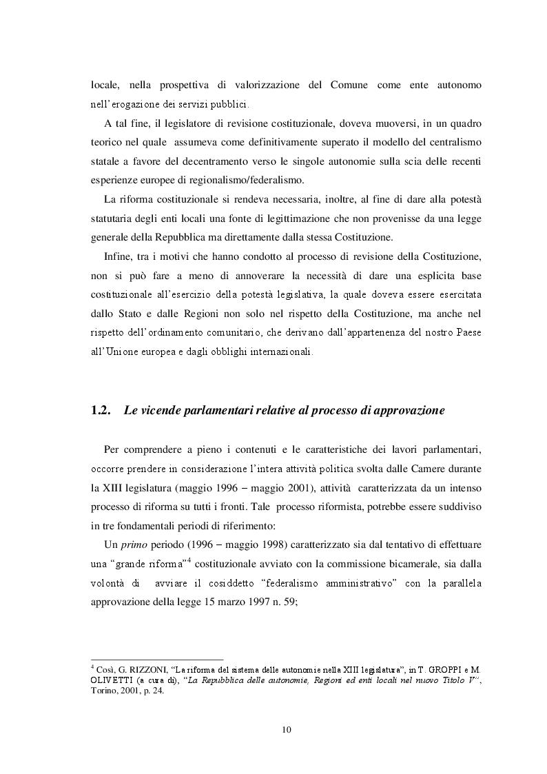 Anteprima della tesi: L'autonomia finanziaria degli Enti Locali alla luce della riforma del titolo V della Costituzione, Pagina 7