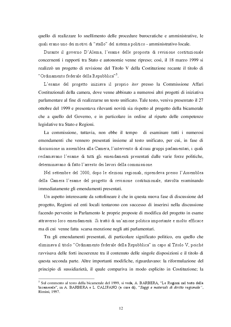 Anteprima della tesi: L'autonomia finanziaria degli Enti Locali alla luce della riforma del titolo V della Costituzione, Pagina 9