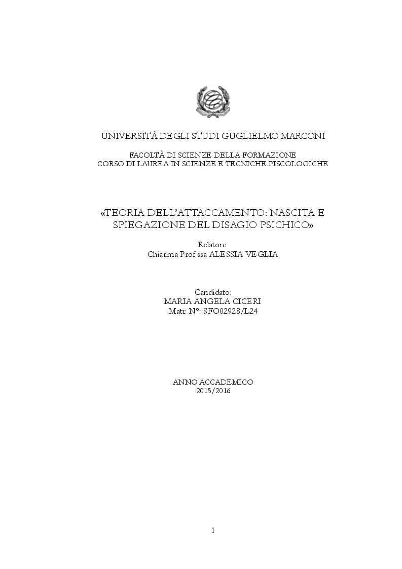 Anteprima della tesi: Teoria dell'attaccamento: nascita e spiegazione del disagio psichico, Pagina 1
