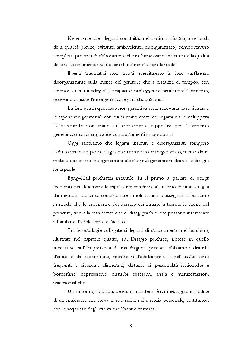 Anteprima della tesi: Teoria dell'attaccamento: nascita e spiegazione del disagio psichico, Pagina 4