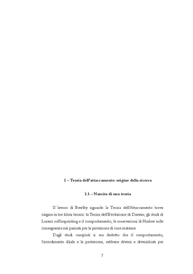 Anteprima della tesi: Teoria dell'attaccamento: nascita e spiegazione del disagio psichico, Pagina 6
