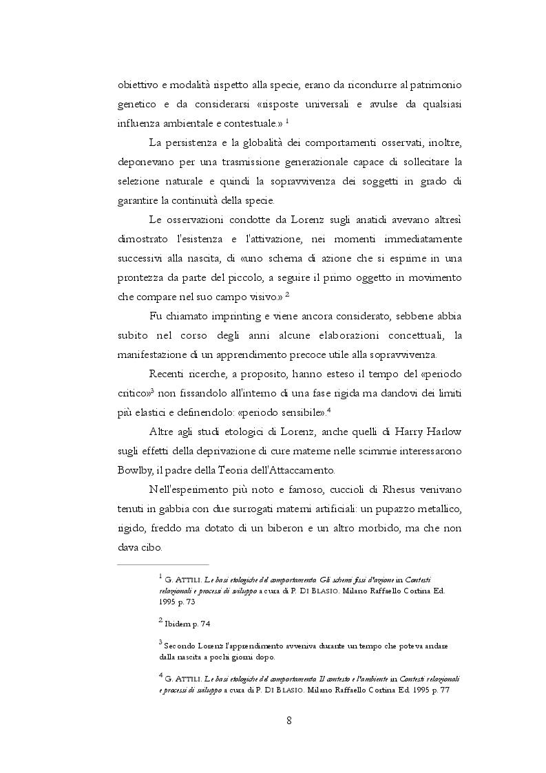 Anteprima della tesi: Teoria dell'attaccamento: nascita e spiegazione del disagio psichico, Pagina 7