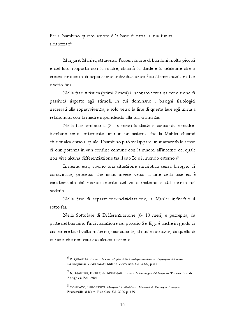 Anteprima della tesi: Teoria dell'attaccamento: nascita e spiegazione del disagio psichico, Pagina 9