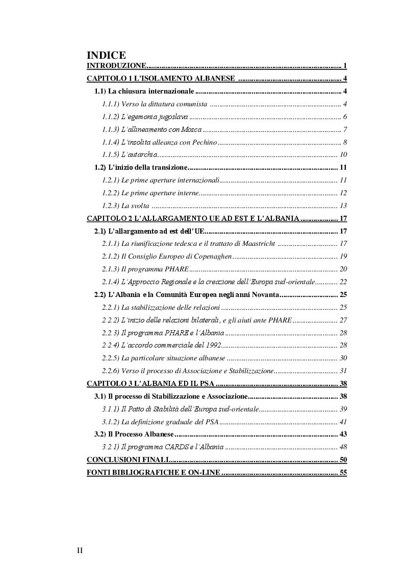 Indice della tesi: Il processo d'integrazione europea dell'Albania, Pagina 1
